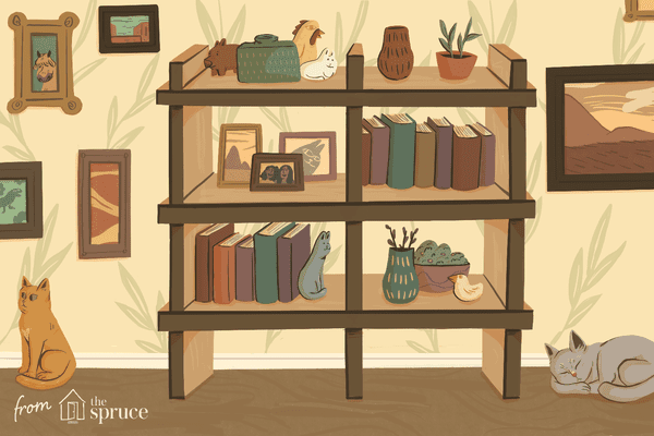 Illustration of a bookshelf and cats