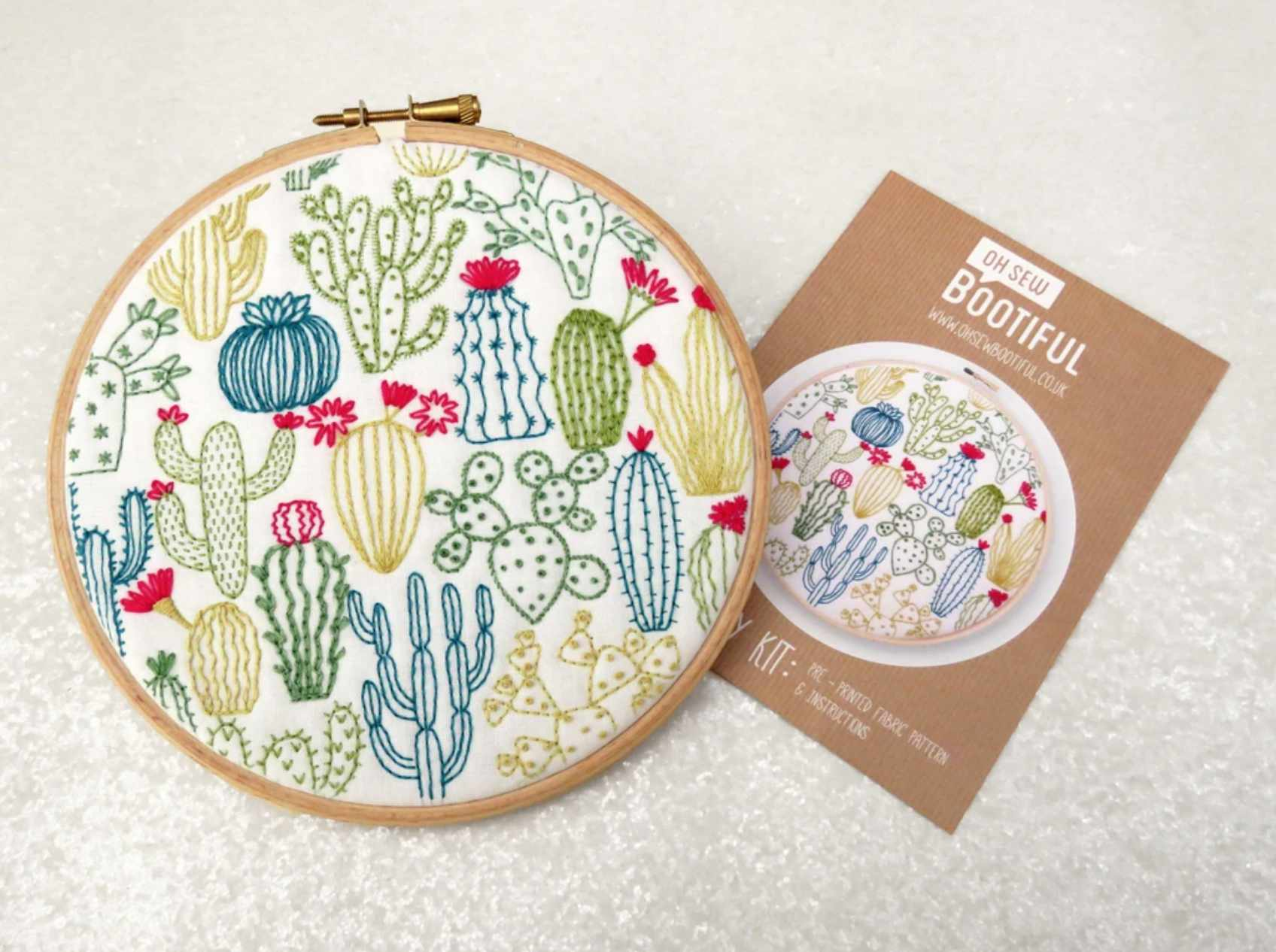 Cactus Stamped Fabric Embroidery Pattern