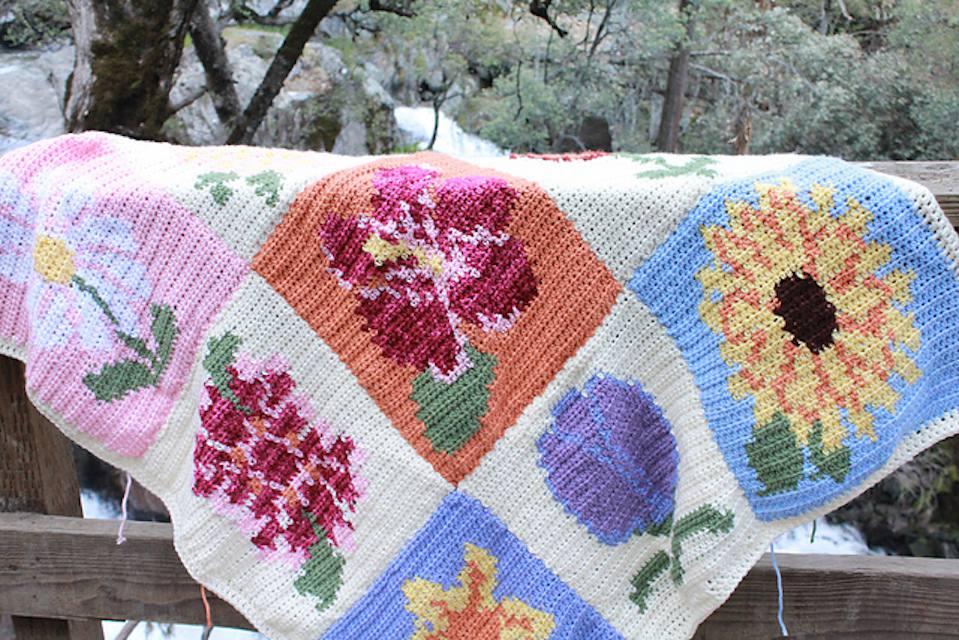 Tapestry Crochet Flower Blanket