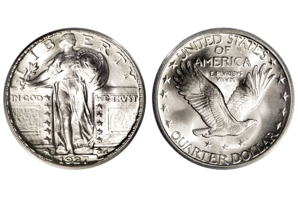 1927-S Standing Liberty quarter with the front and back.