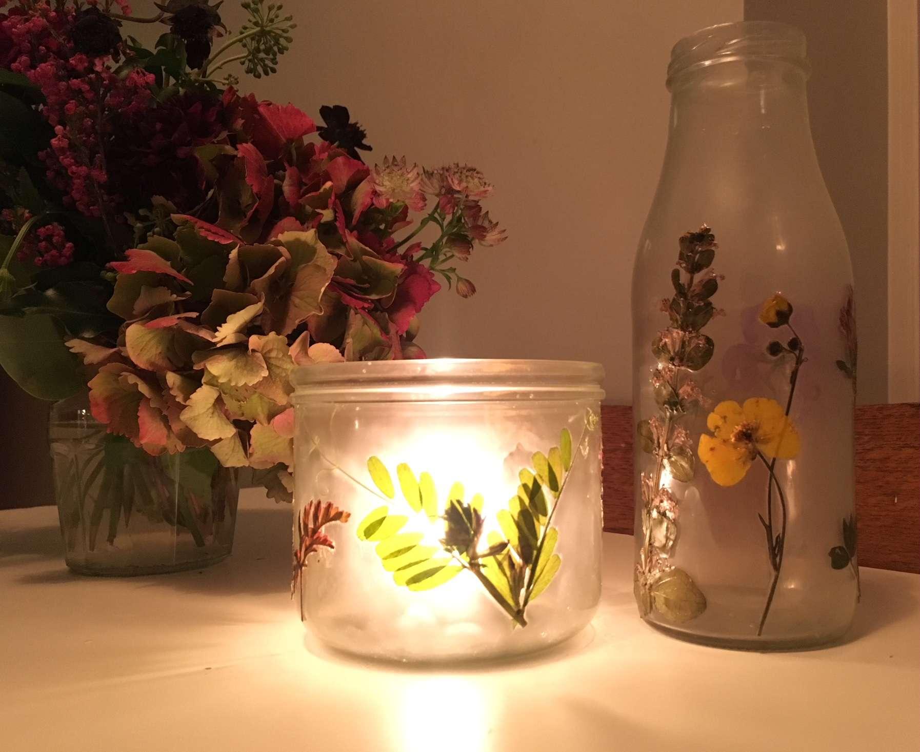 DIY pressed flower vase