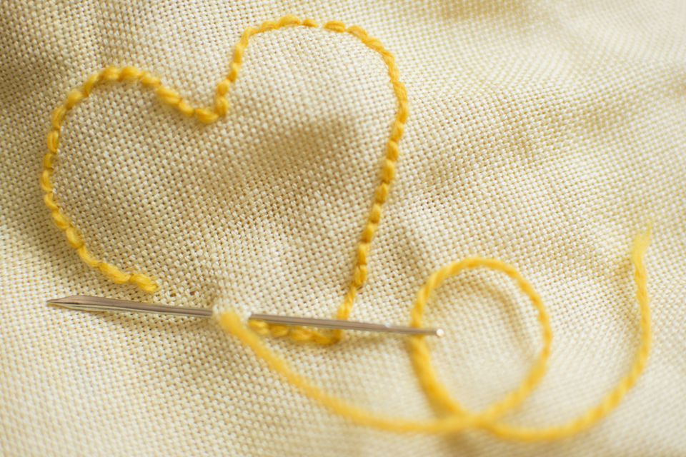 Stitched yellow heart
