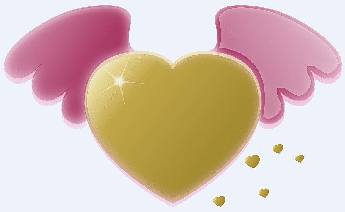 A gold heart with pink wings