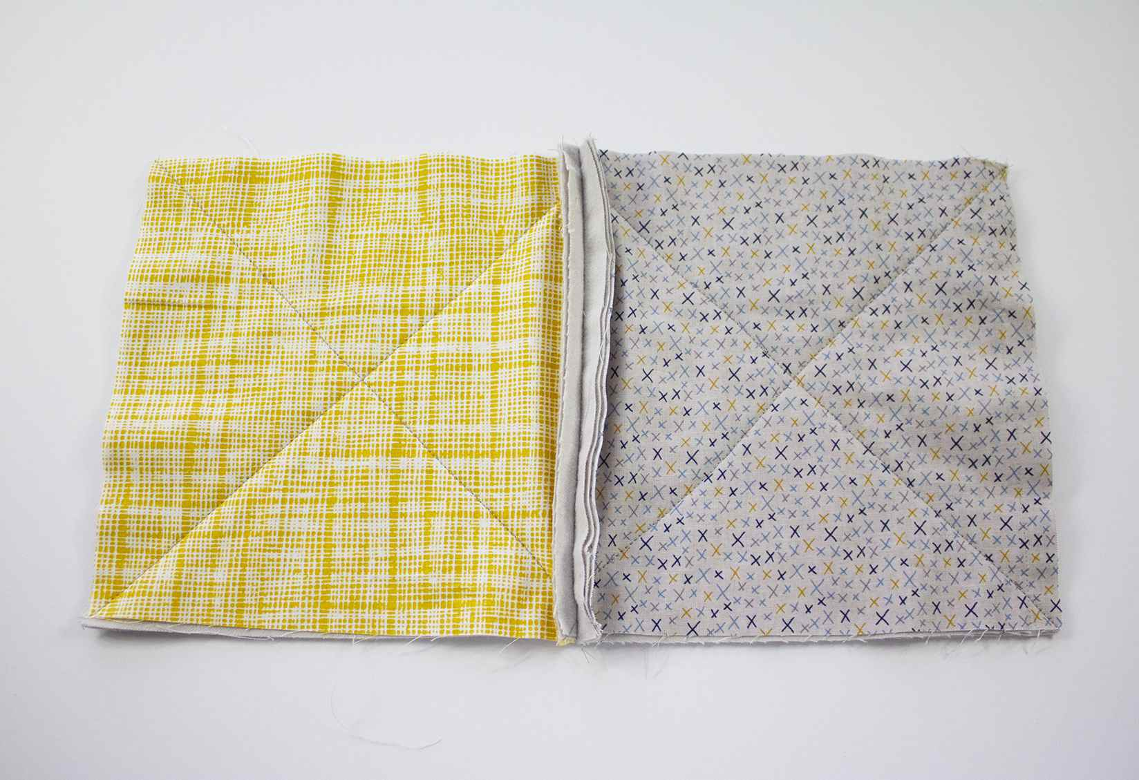 Two quilt stacks sewn together
