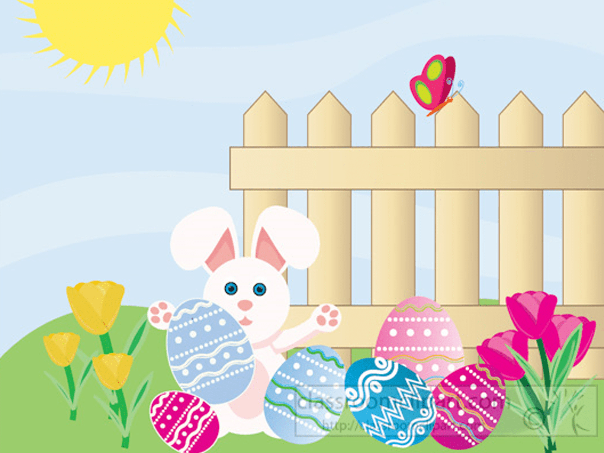 Easter clipart of a bunny outside with Easter eggs