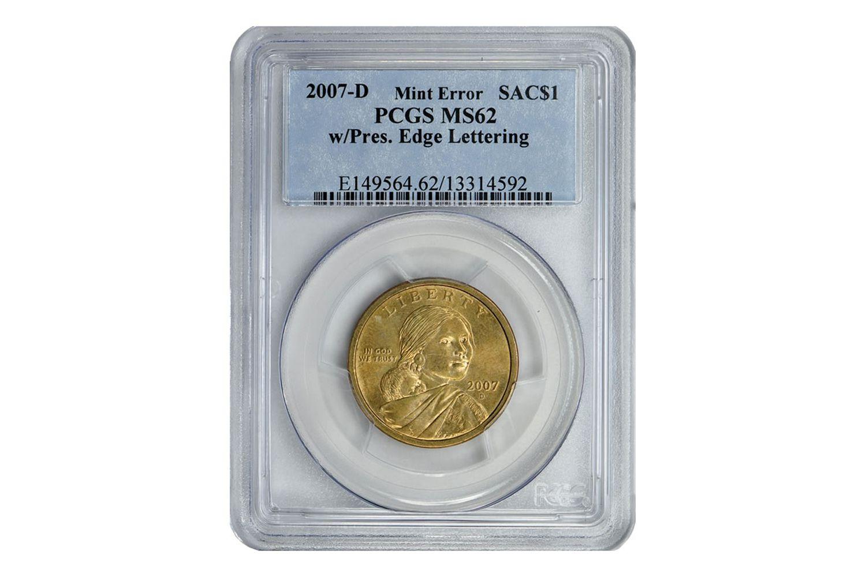 2007-D Mint Error Sacajawea Dollar With Edge Lettering
