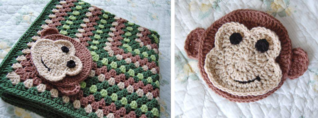 Layered Crochet Monkey Applique Free Pattern