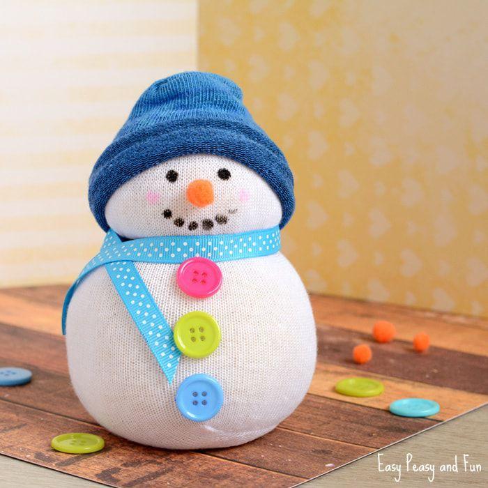 No-Sew Sock Snowman Craft
