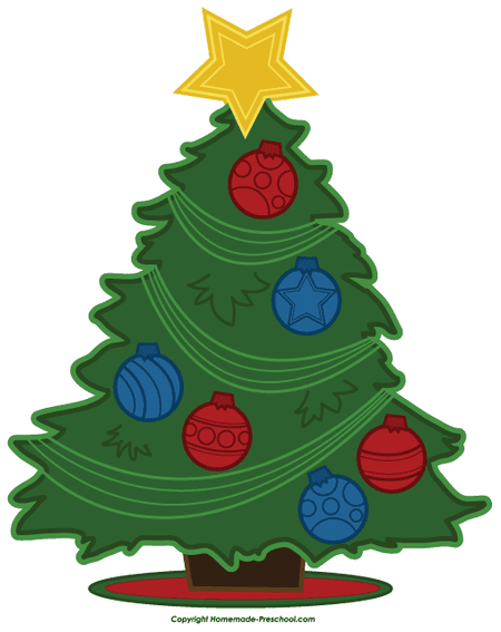 A Christmas Tree With Blue And Red Bulbs Clipart Planet