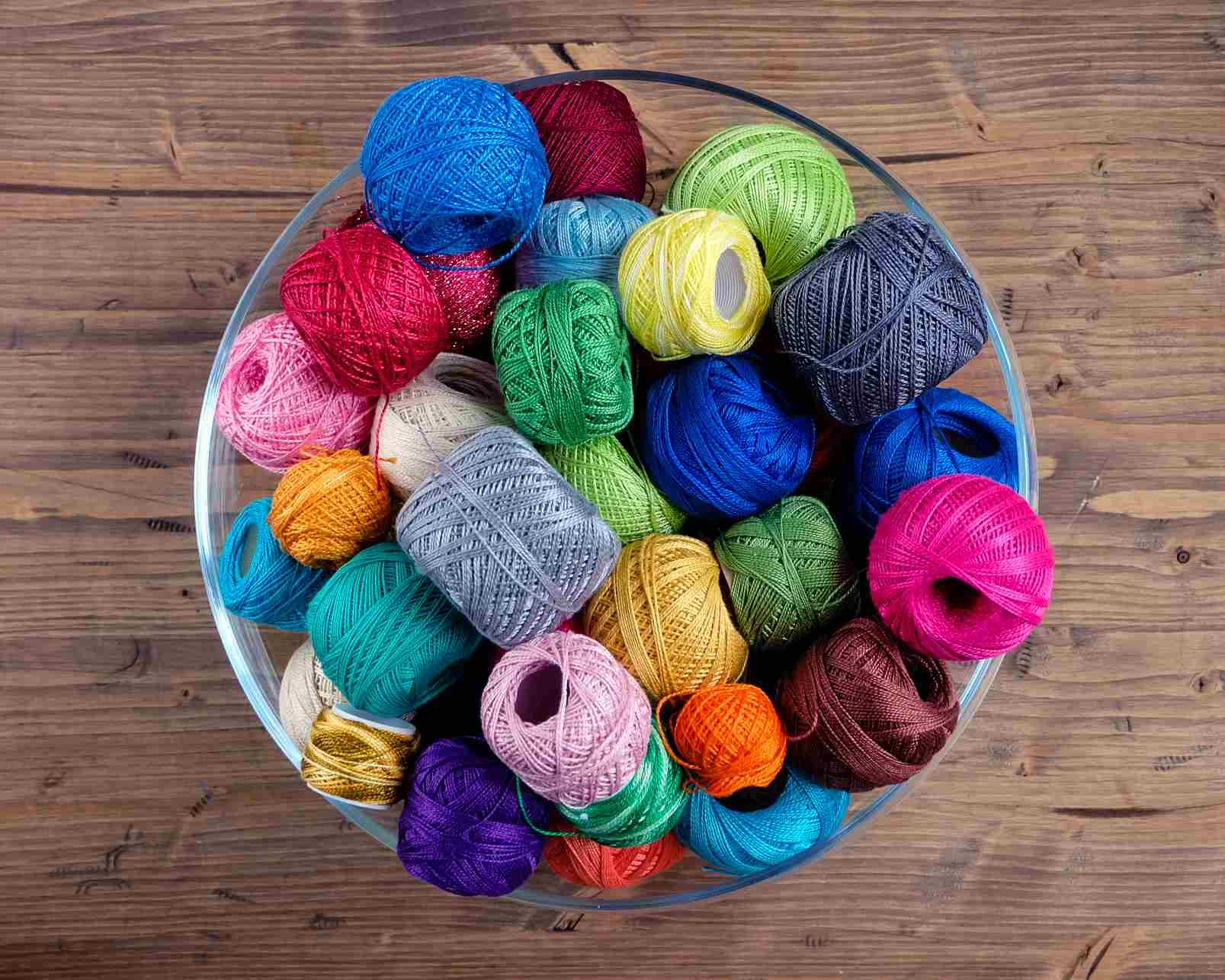 bowl of crochet thread spools