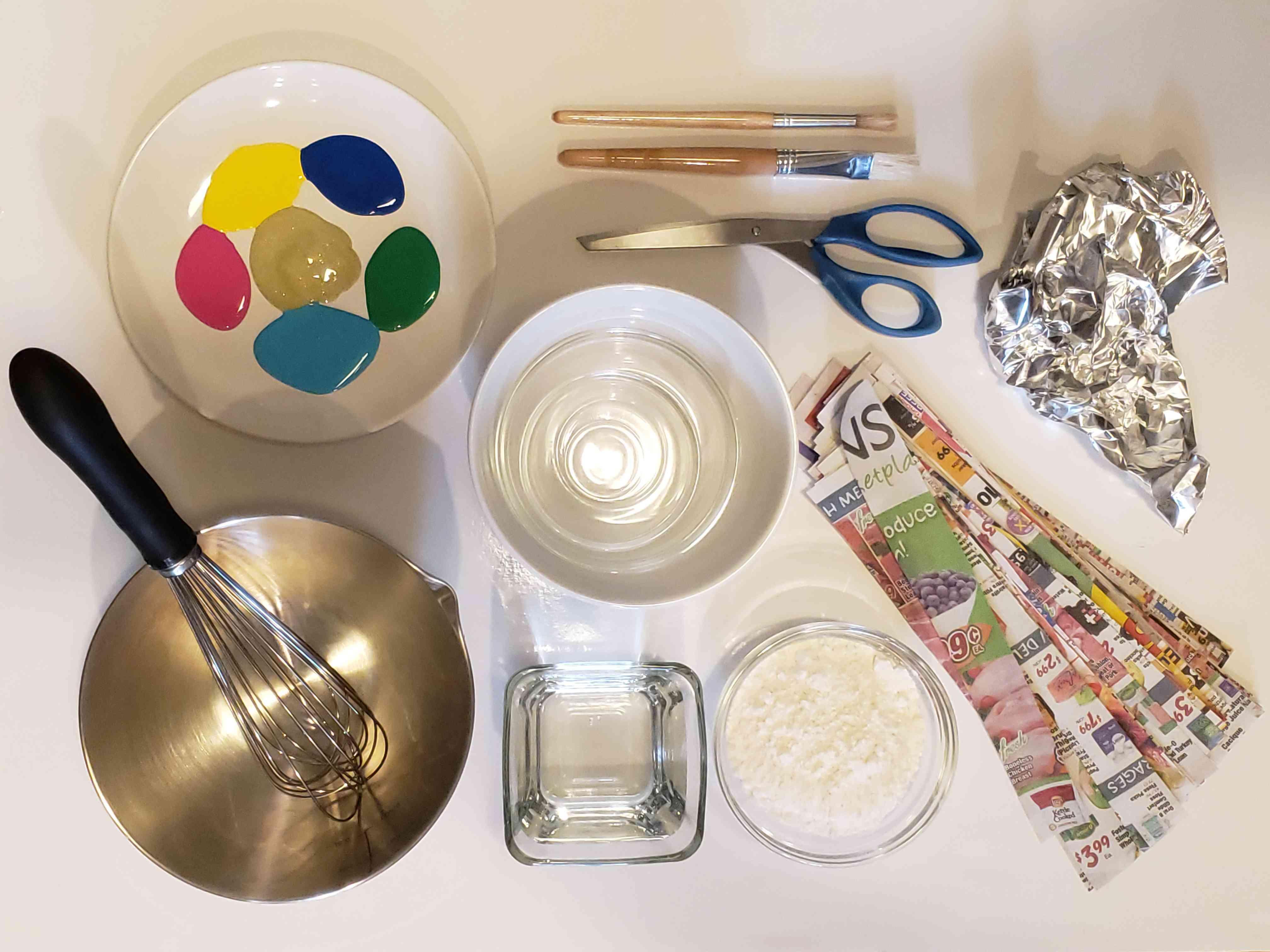 Supplies for papier-mache bowls