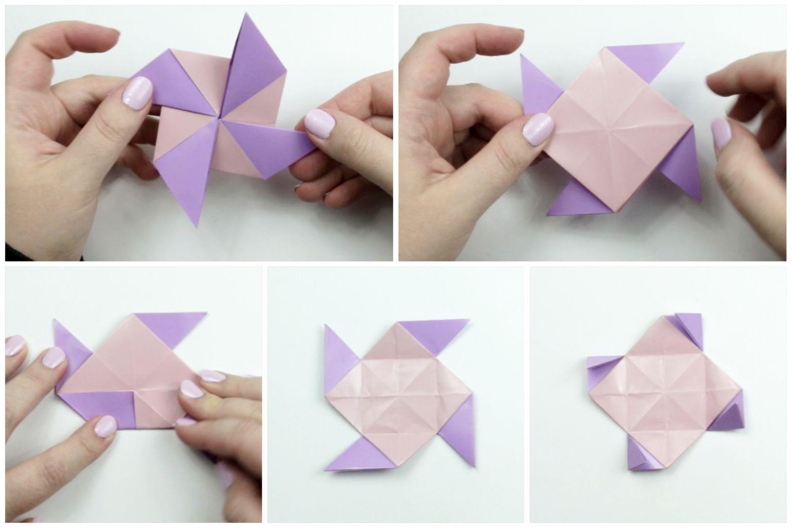 Origami Earrings being folded