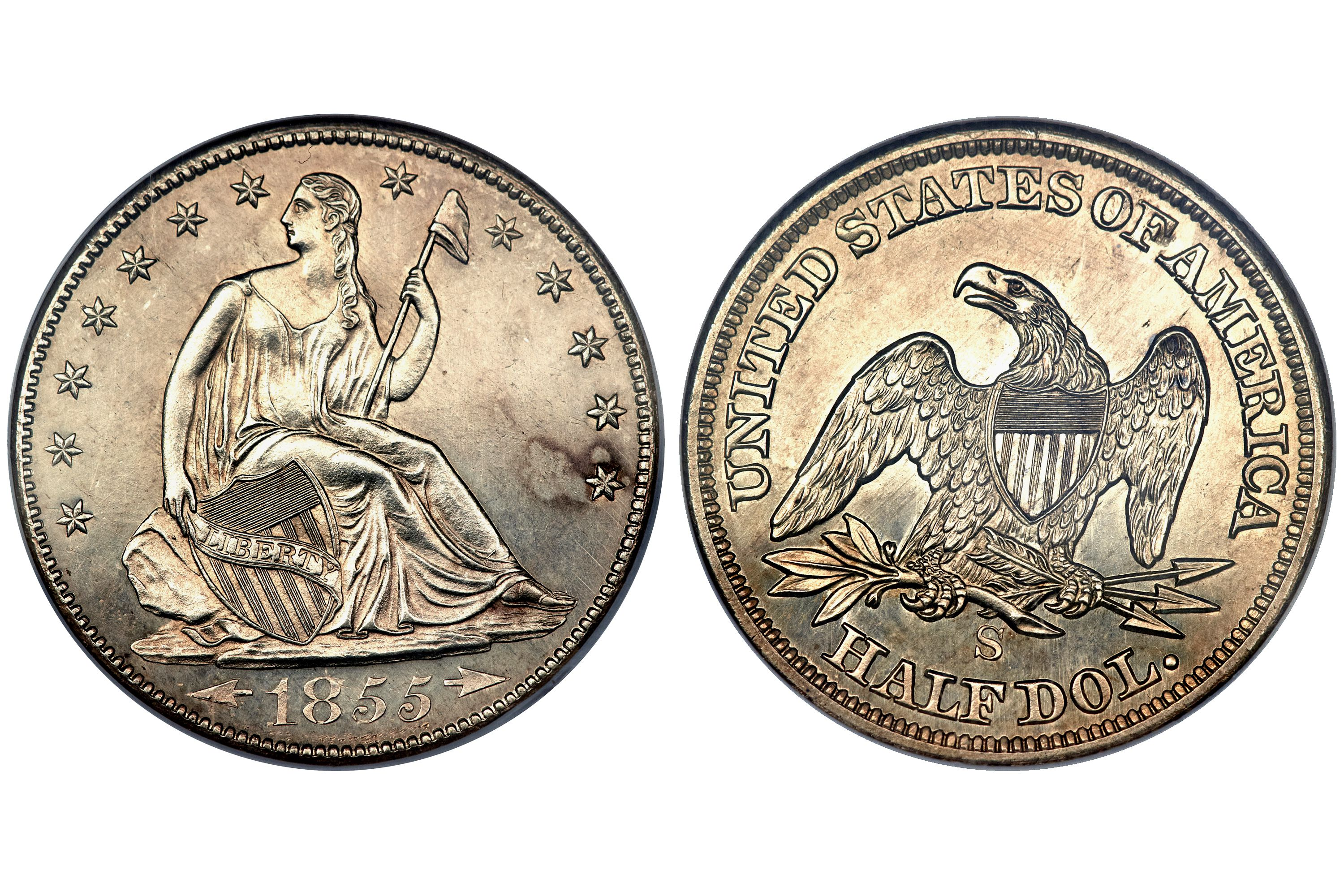 1855-S Proof Liberty Seated Half Dollar graded PR-65 by NGC