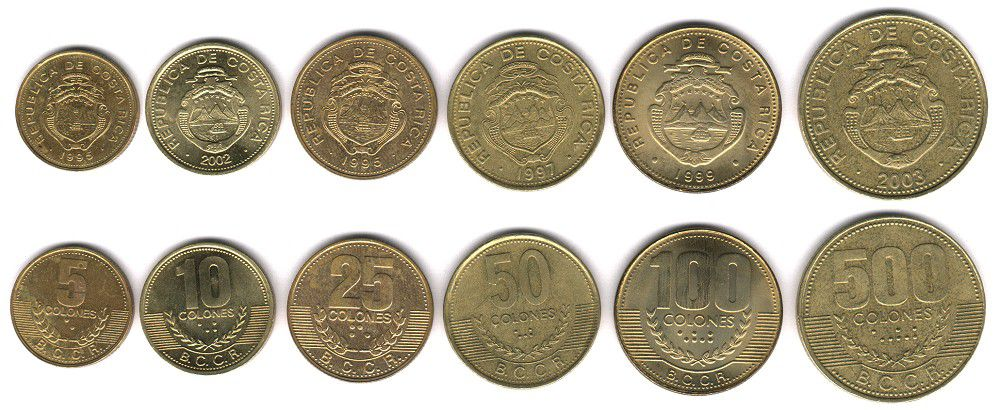 These coins are currently circulating in Costa Rica as money.