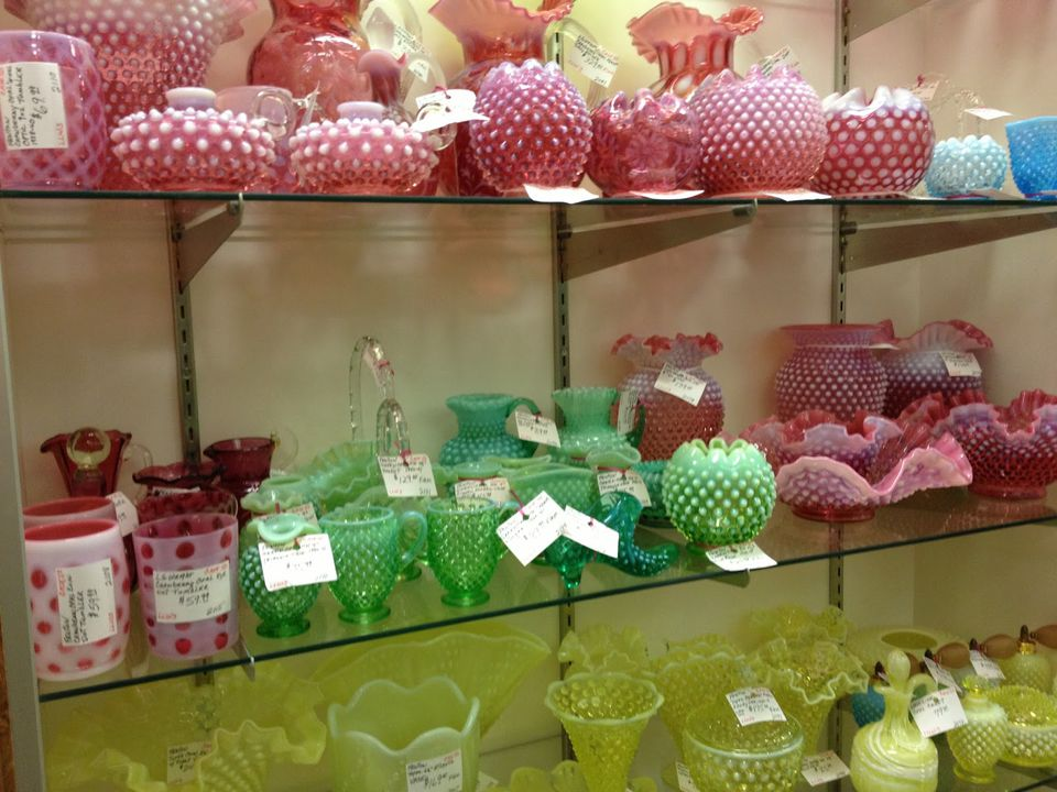 Fenton Glassware at Gannon's Antiques & Art in Fort Myers, Florida.