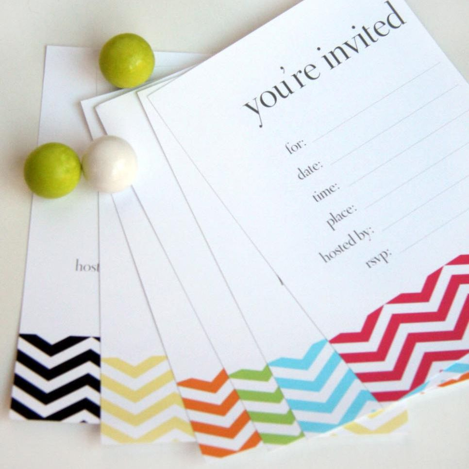 Chevron Birthday Invitations Laying On A Table