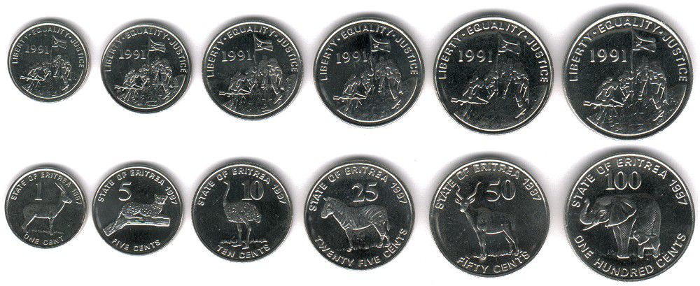 These coins are currently circulating in Eritrea as money.