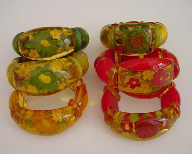 An Array of Reverse Carved Bakelite Stretch Bracelets