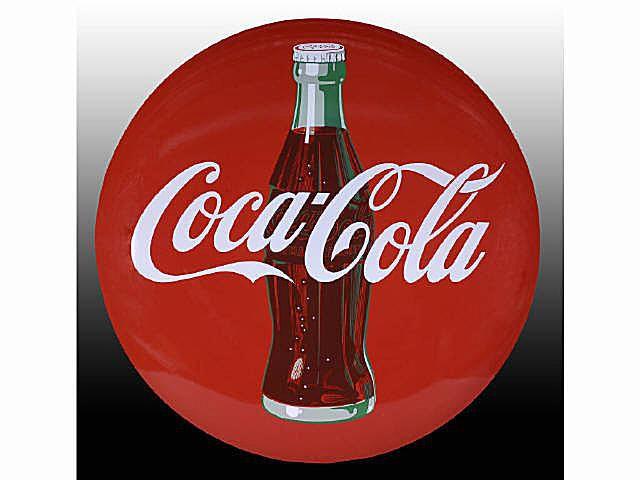 ca. 1950 Coca-Cola Porcelain Button Sign