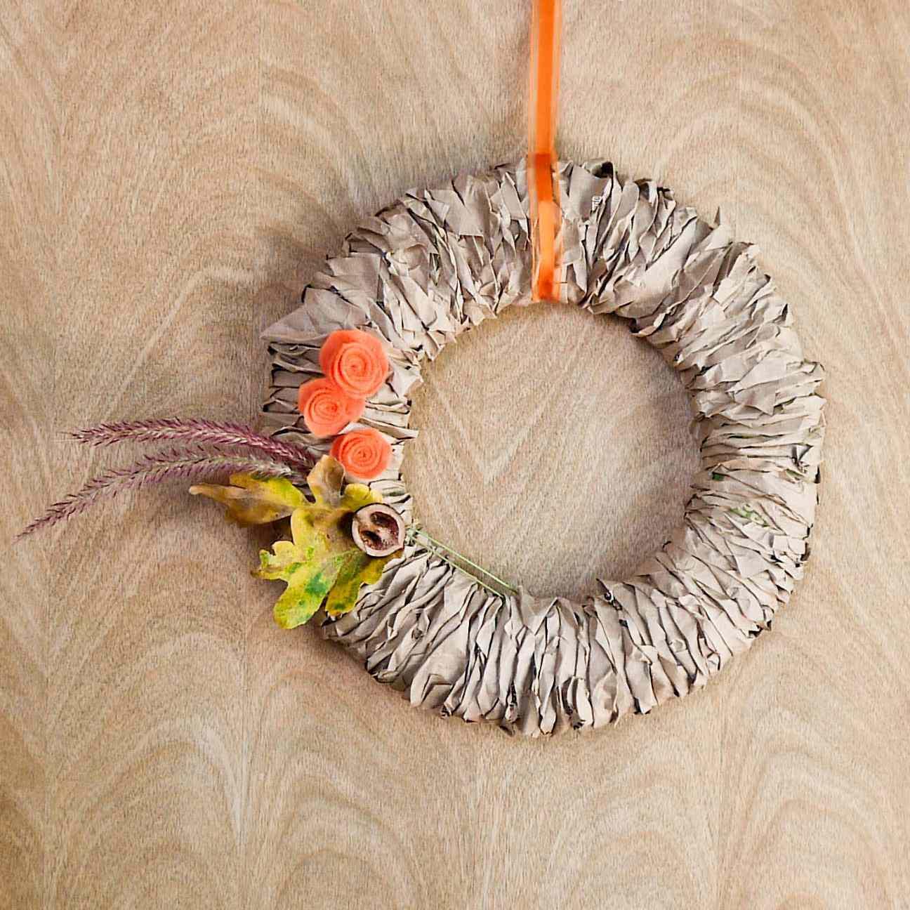 paper bag autumn wreath