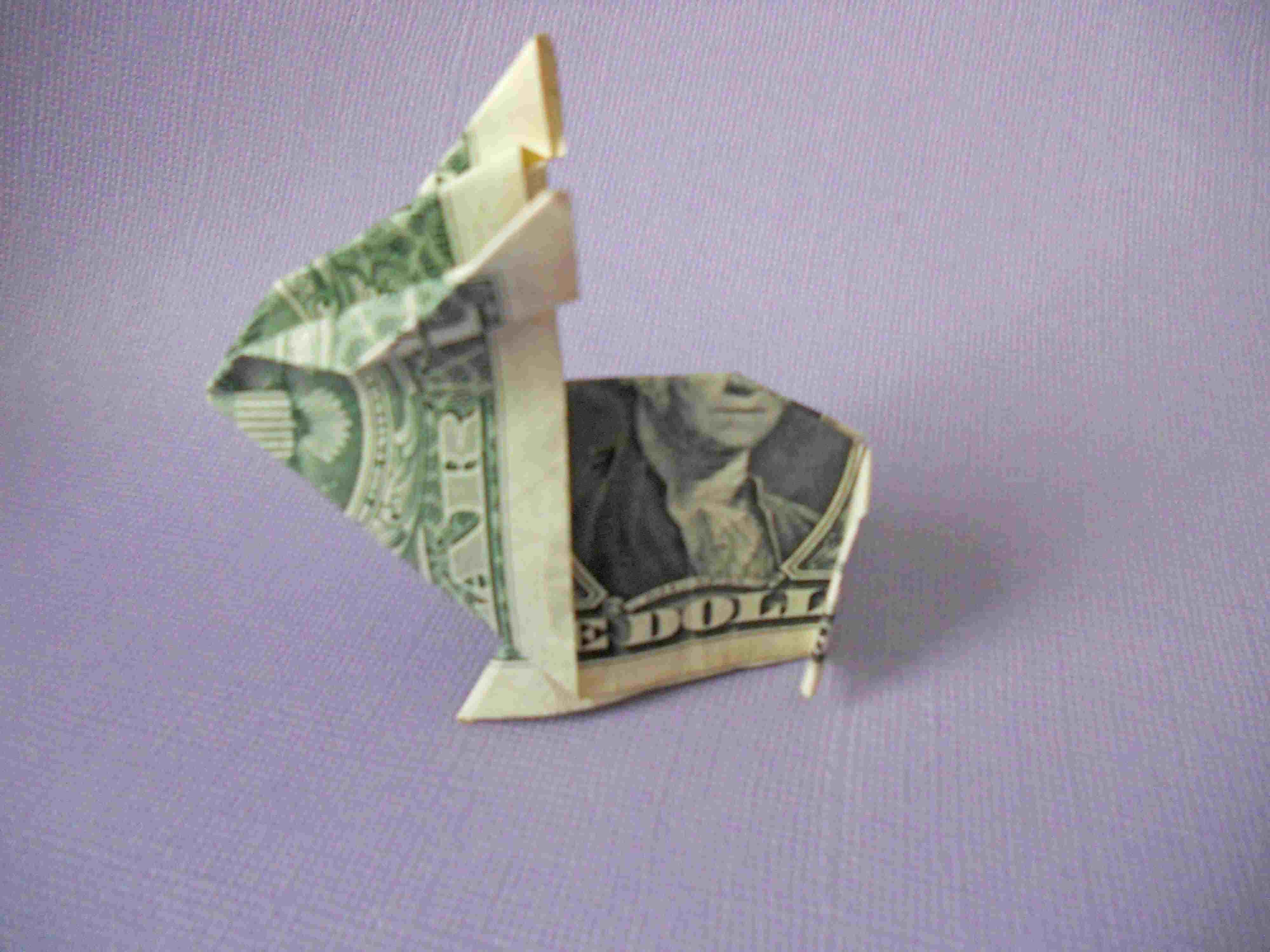 A money origami bunny