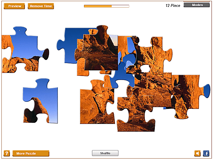 Screenshot of the freepuzzlegames.biz website