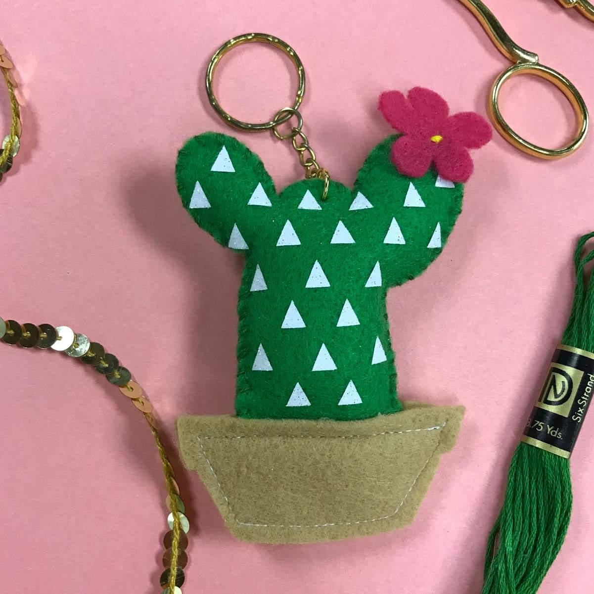 Cactus Felt Keychain