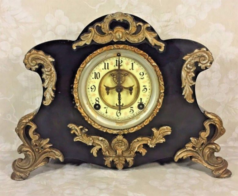 Antique Ansonia Clock w/ Porcelain Face Cast Iron Case