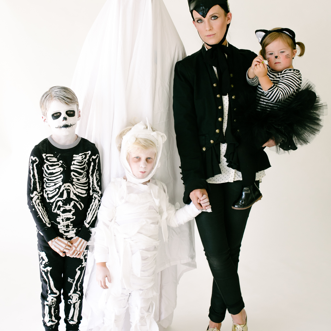 Classic black and white family costume ideas