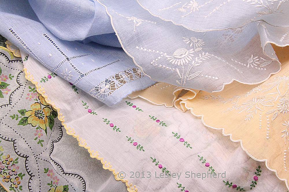 Range of printed and embroidered handkerchiefs suitable for miniatures and doll clothing.