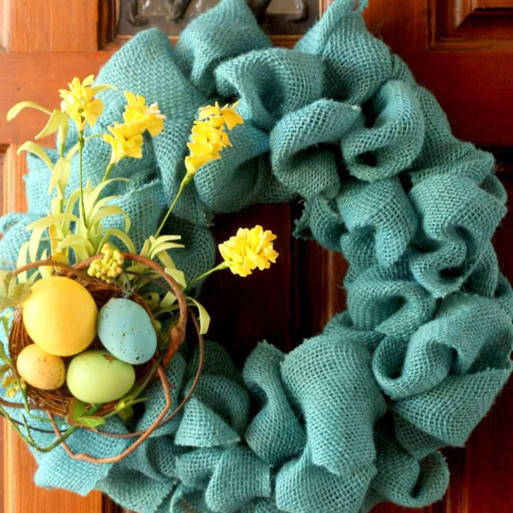 DIY Burlap Spring Wreath