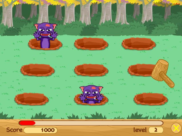 Whack a mole game but with monsters