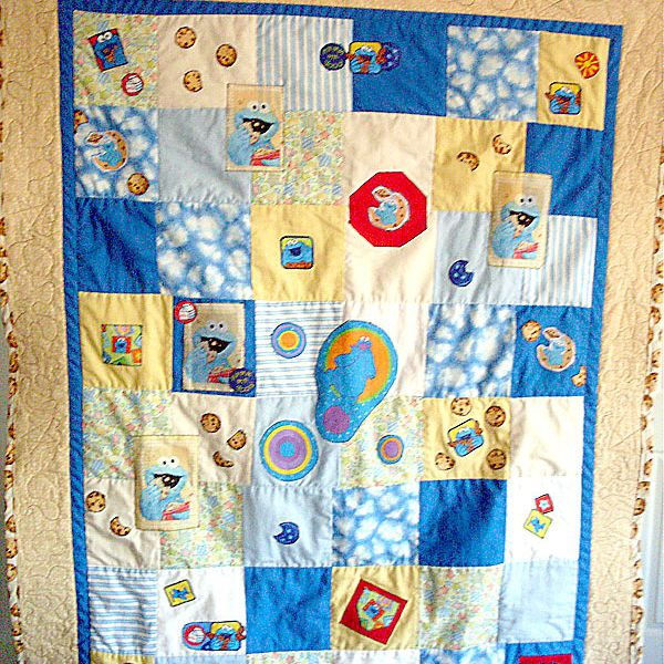 Peach Cookie Monster baby quilt.