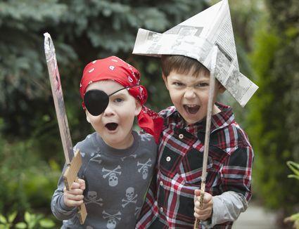 Boys playing pirates