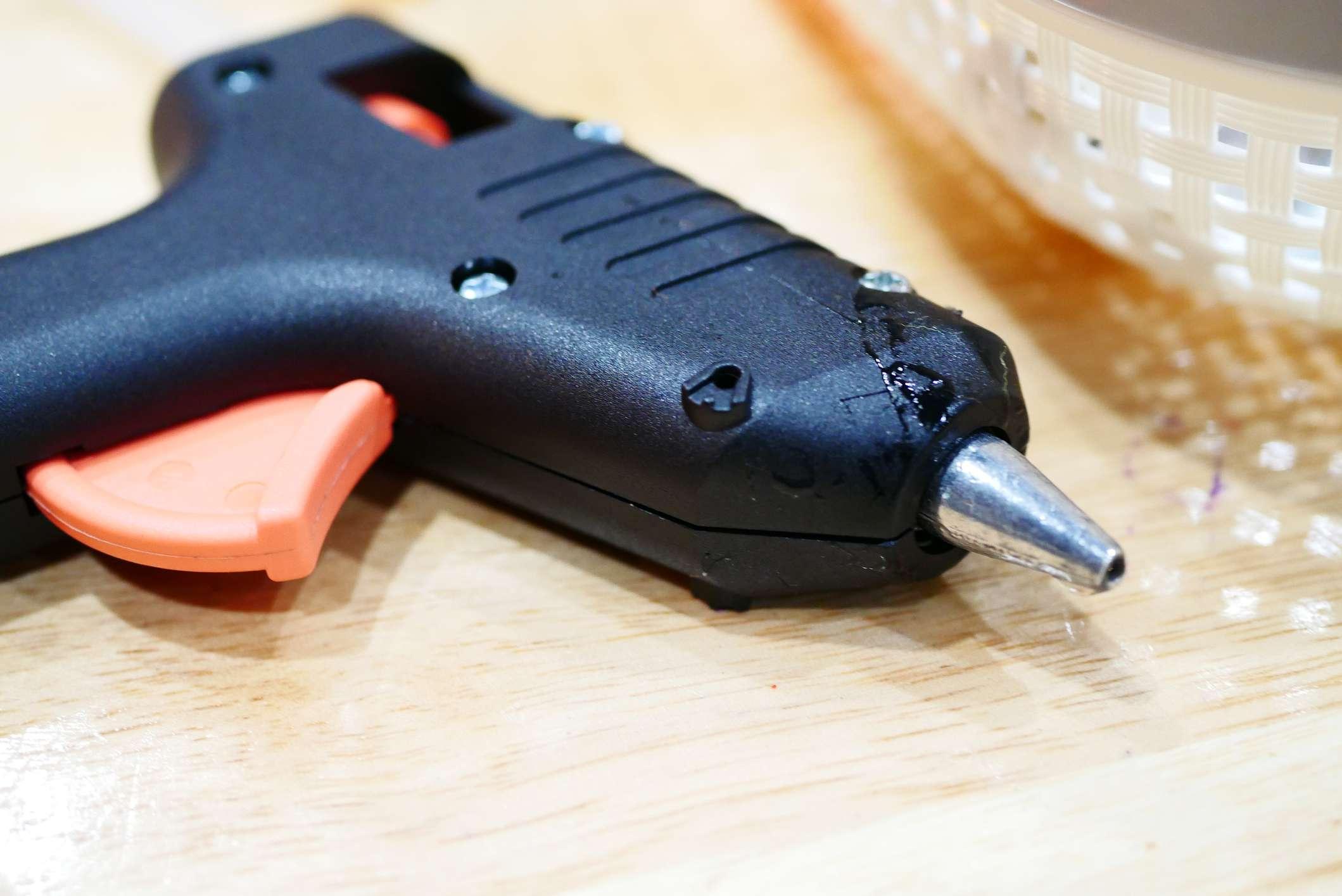 Hot glue gun on table