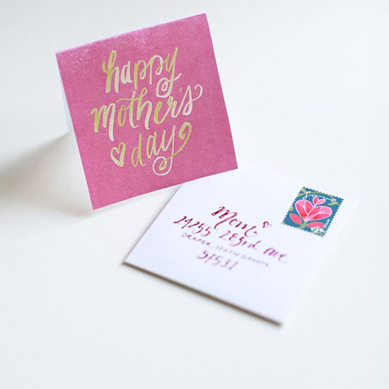 A pink and gold Mother's Day card