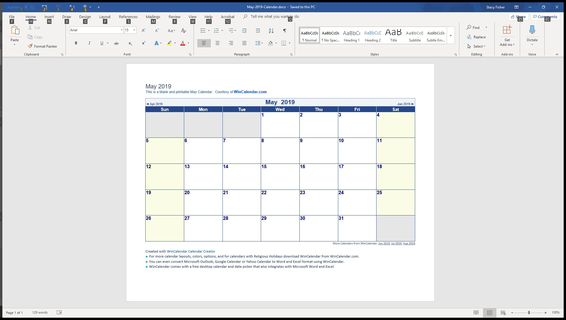 A May 2019 calendar template open for editing