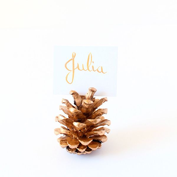 DIY Gold Pine Cone Place Card Holder