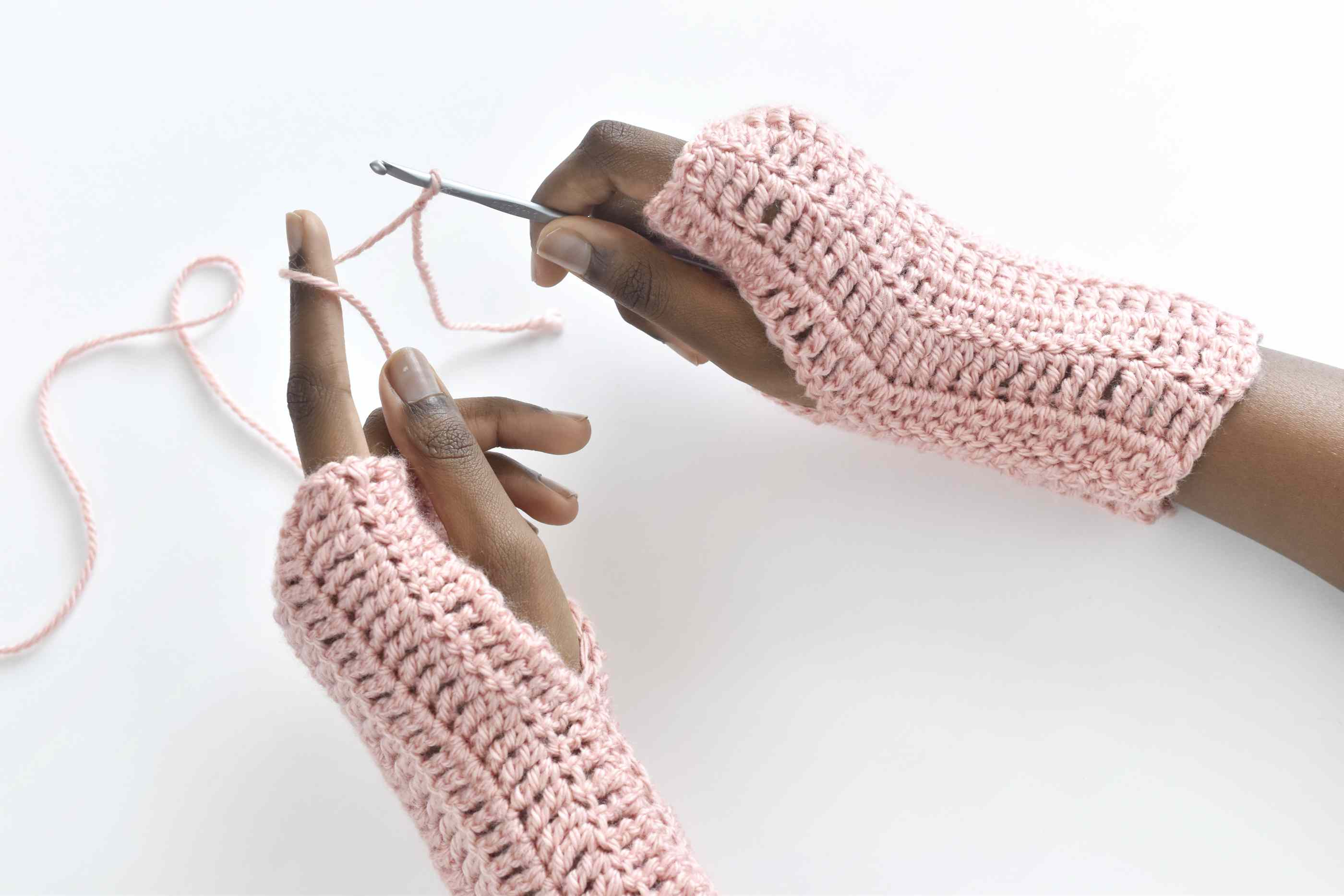Easy Treble Crochet Fingerless Gloves
