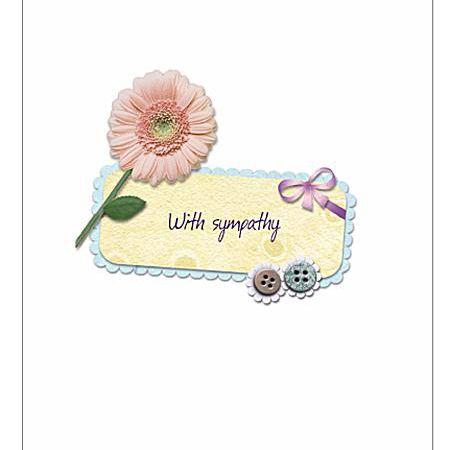 11 free printable condolence and sympathy cards a sympathy card with a pink flower bow and buttons greetings island m4hsunfo