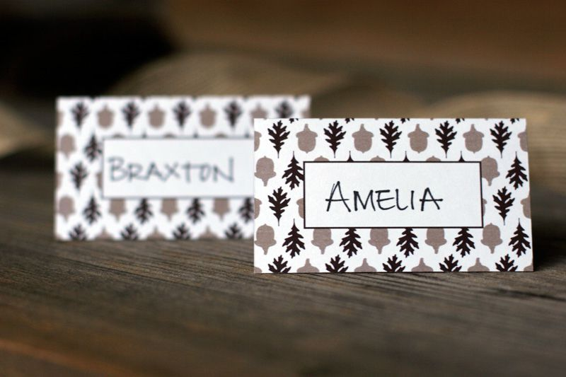 two thanksgiving place cards on a table - Table Place Cards