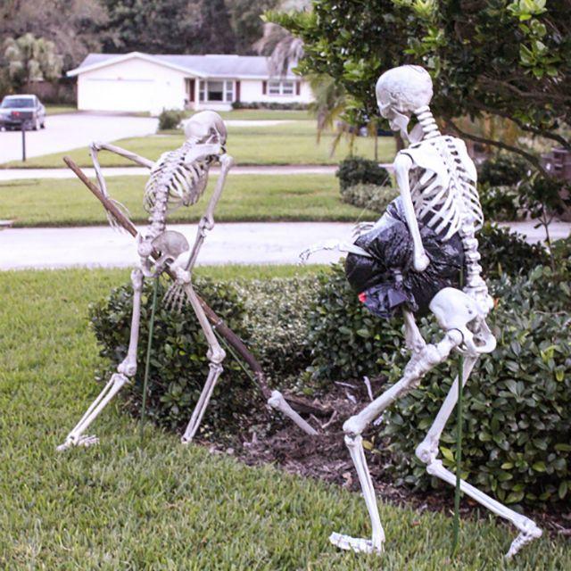 diy skeleton lawn decor