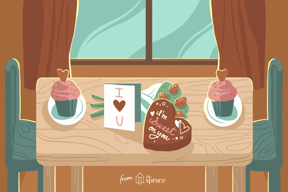 Illustration of a Valentine's Day table spread
