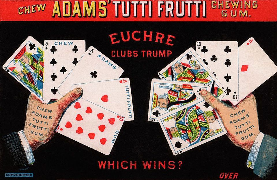 A chewing gum add featuring two-handed euchre