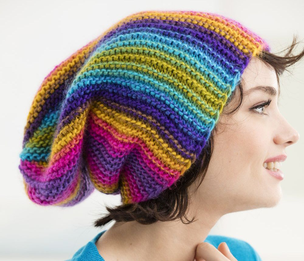 Rainbow Ridges Slouchy Hat Knitting Pattern