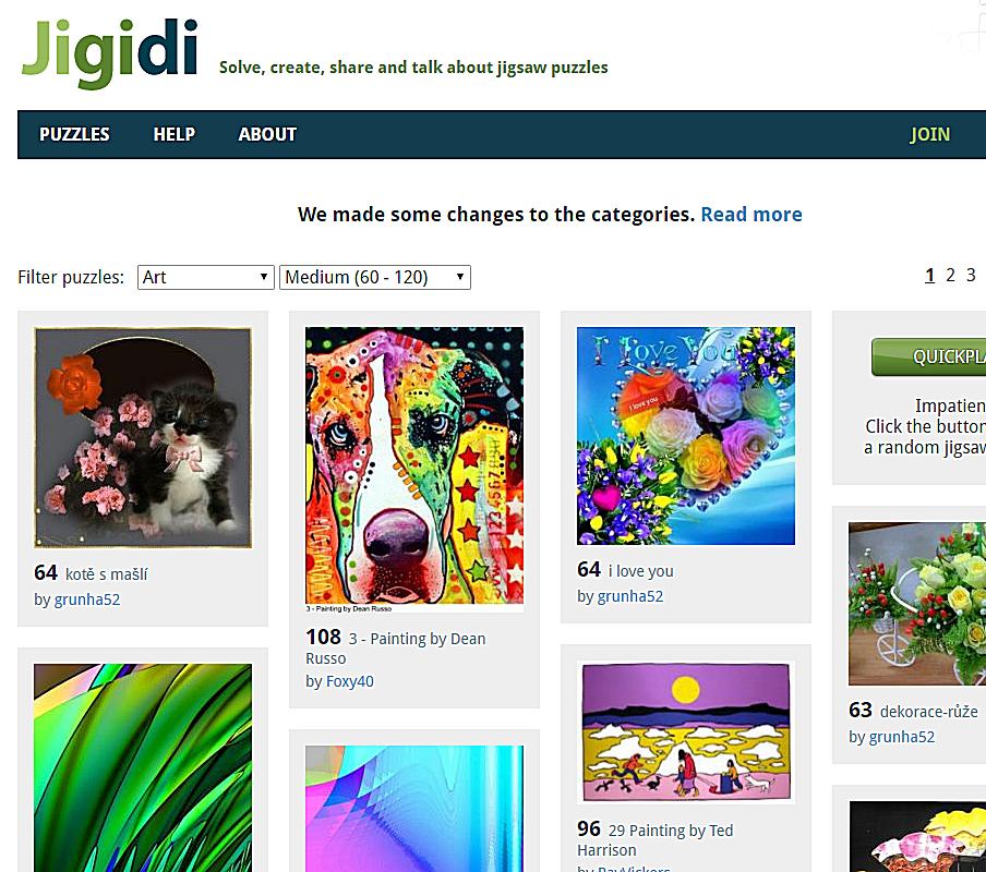 Screenshot of the Jigidi website