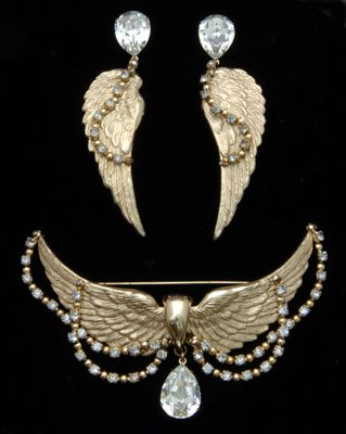 1950s Napier Vintage Wings Brooch And Earring Set