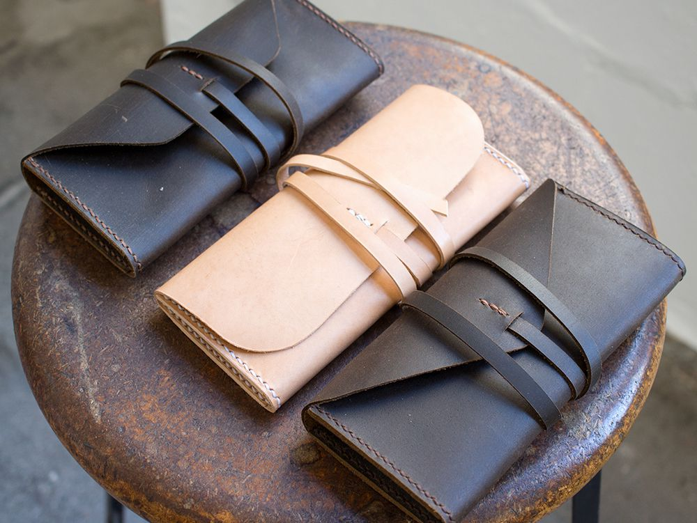 Handmade Gusseted Leather Clutch Purse