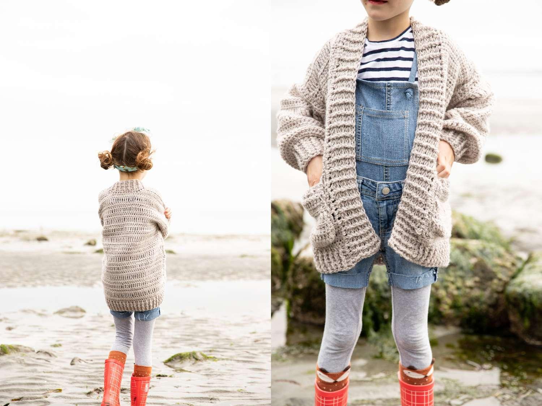 Oversized Crochet Kids Cardigan Pattern