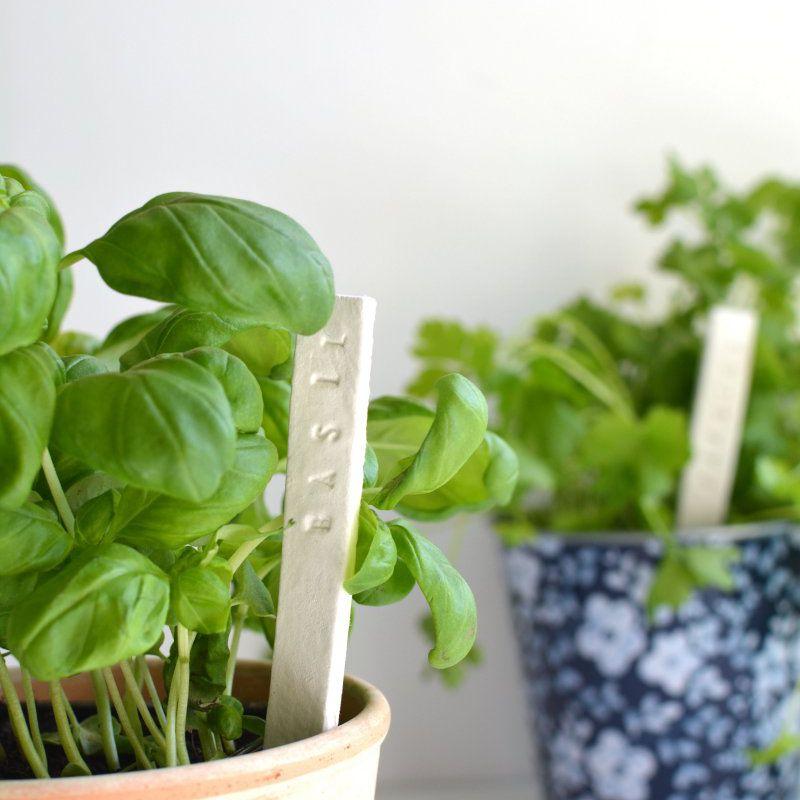 DIY Stamped Clay Garden Labels
